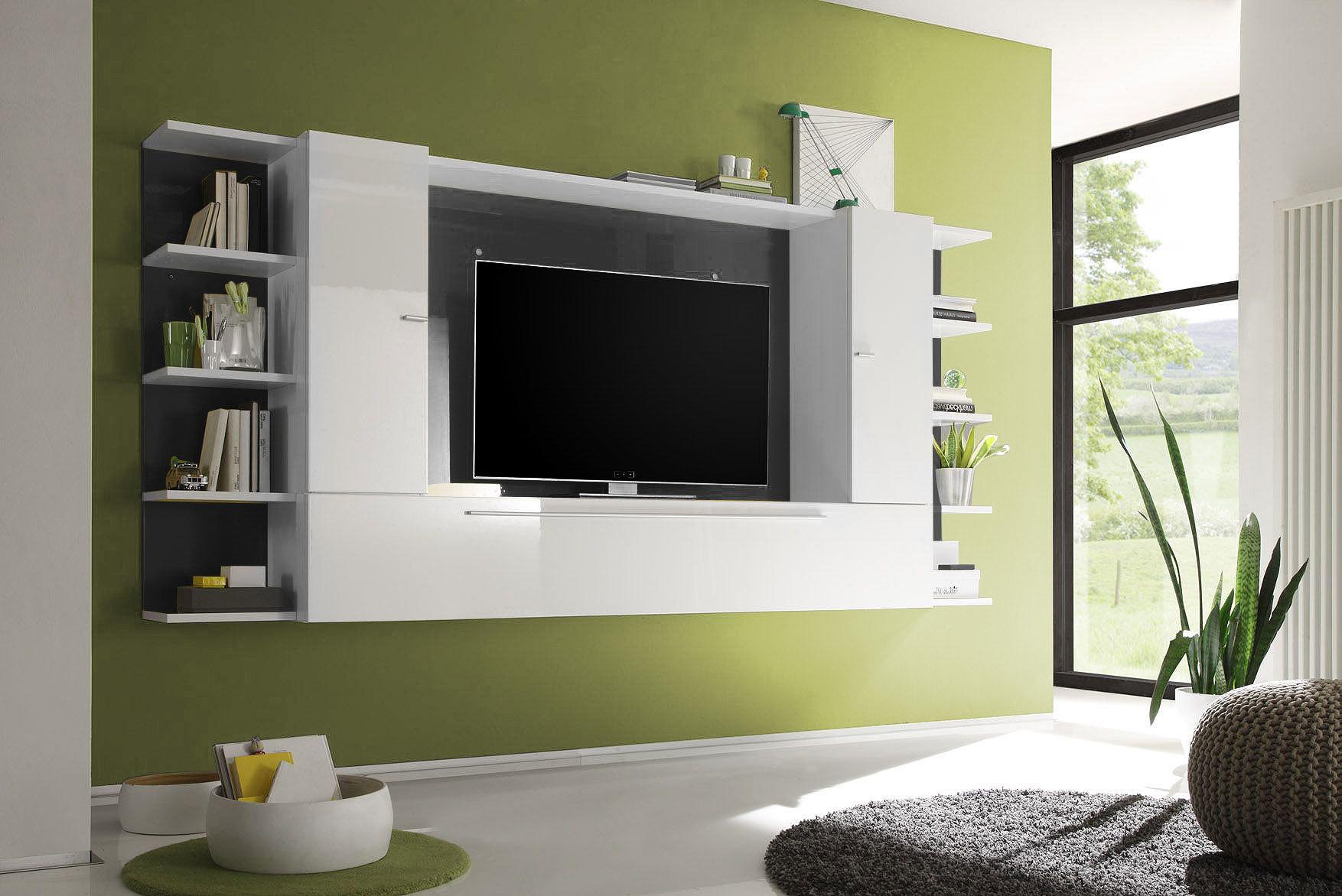 Mobile porta tv a parete design bianco e grigio scuro xenon miliboo
