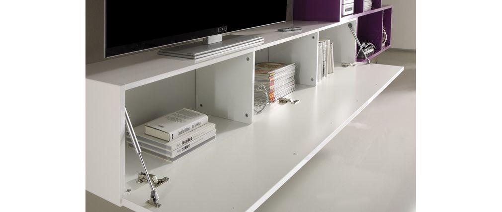 Mobile porta tv a parete design bianco e lilla xenon   miliboo