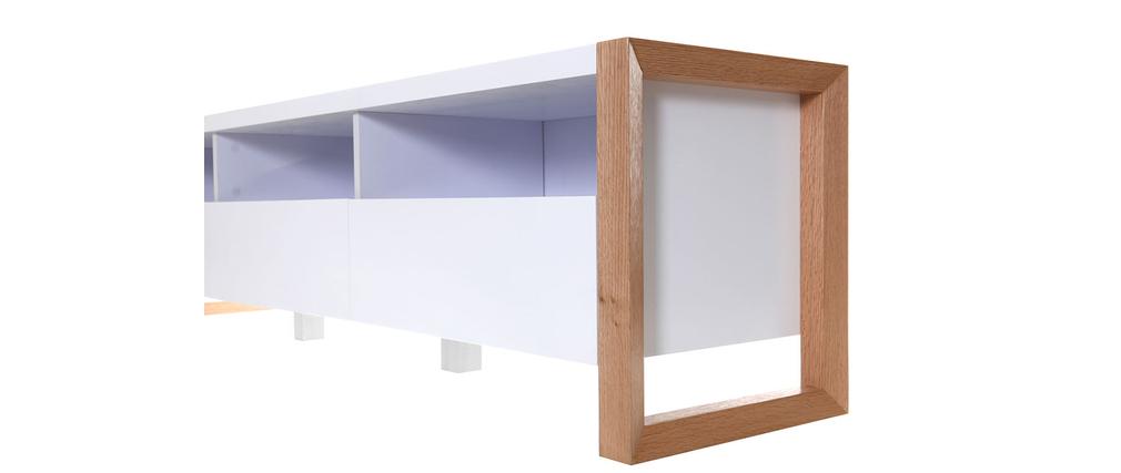 Mobile porta TV design 3 cassetti 3 vani a giorno bianco ARMEL