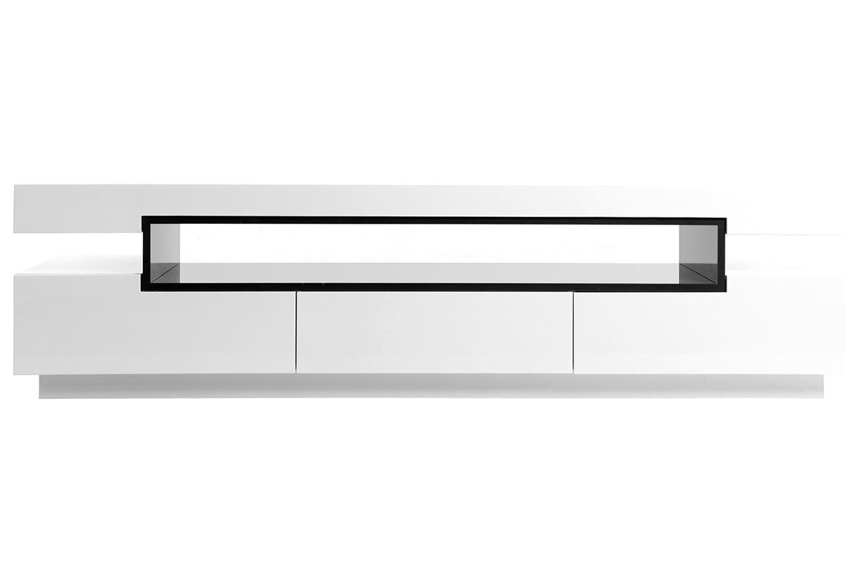 Mobile porta tv design laccato bianco livo miliboo - Porta tv bianco ...