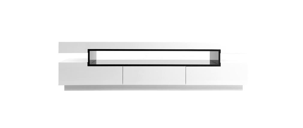 Mobile porta tv design laccato bianco livo miliboo - Mobile porta tv design ...