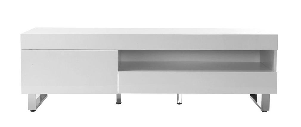 Mobile porta TV design laccato bianco MELHA - Miliboo