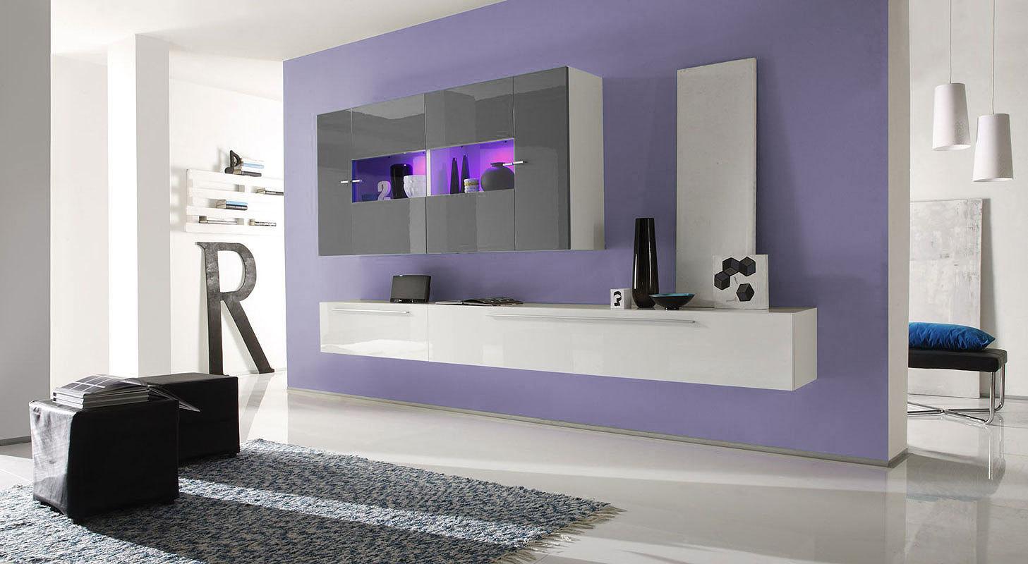 Ensemble mural tv glosse blanc brillant/wengé 4 éléments