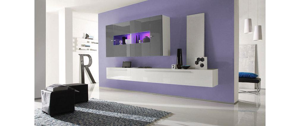 Mobile porta tv xenon a parete design bianco e grigio scuro xenon miliboo - Mobile tv a parete ...
