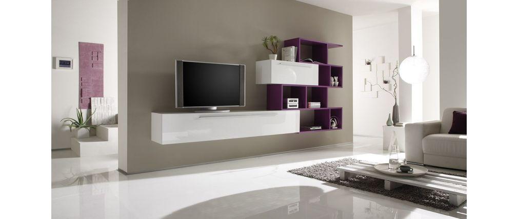 Mobile porta tv xenon a parete design bianco e lilla xenon   miliboo