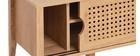 Mobile TV con ante scorrevoli in legno e rattan sintetico PACHO