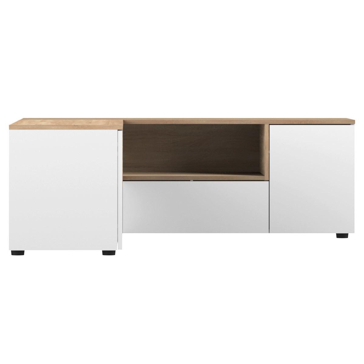 Mobile TV d'angolo design legno e bianco  QUADRA