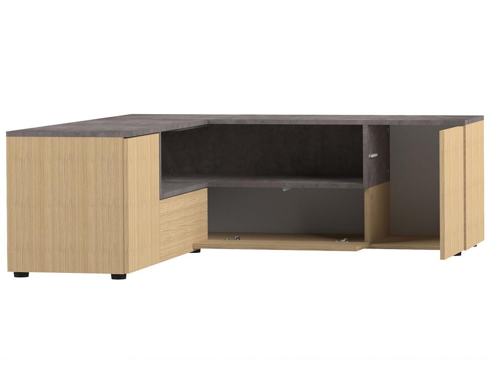 Mobile TV d\'angolo design legno e grigio cemento QUADRA ...