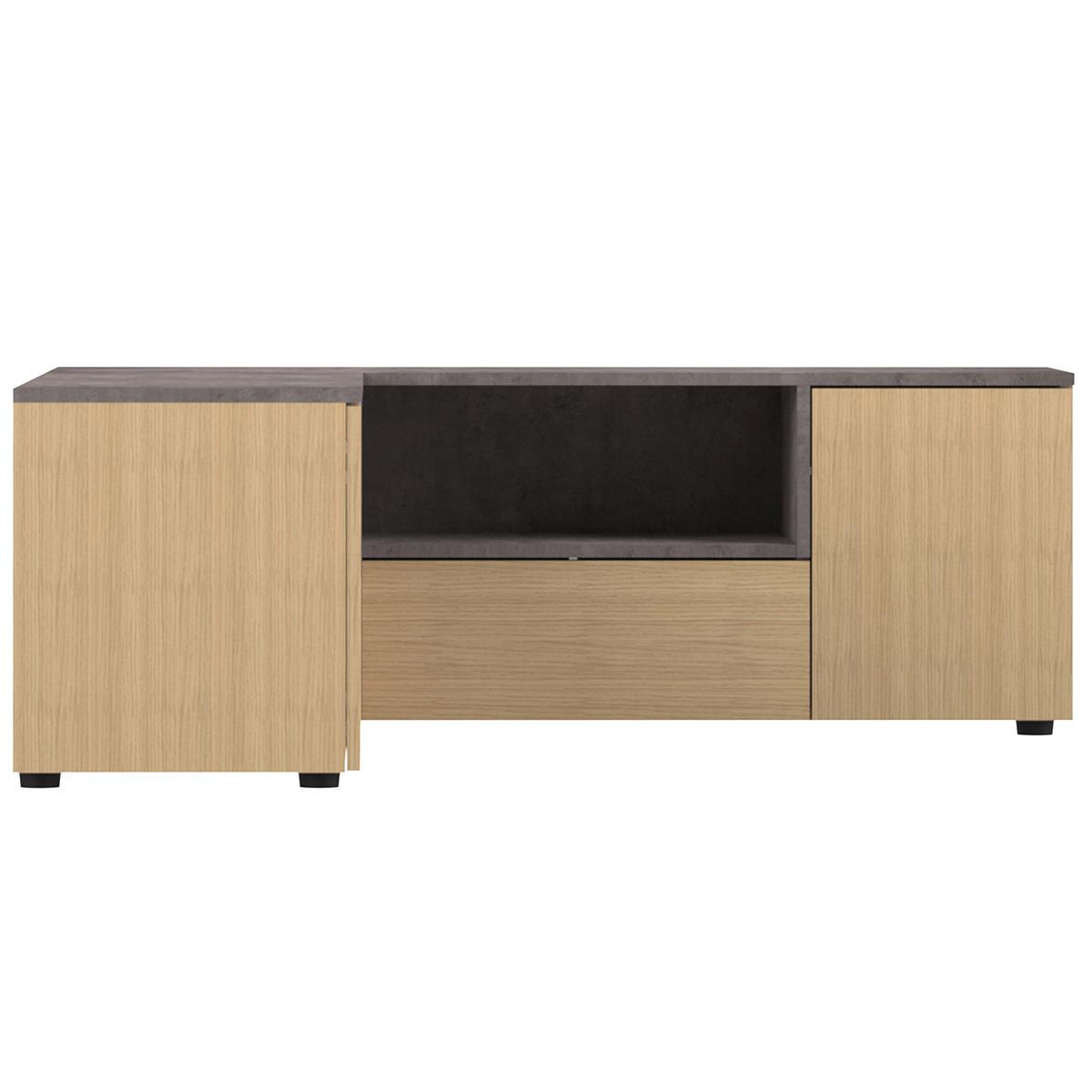 Mobile TV d'angolo design legno e grigio cemento QUADRA