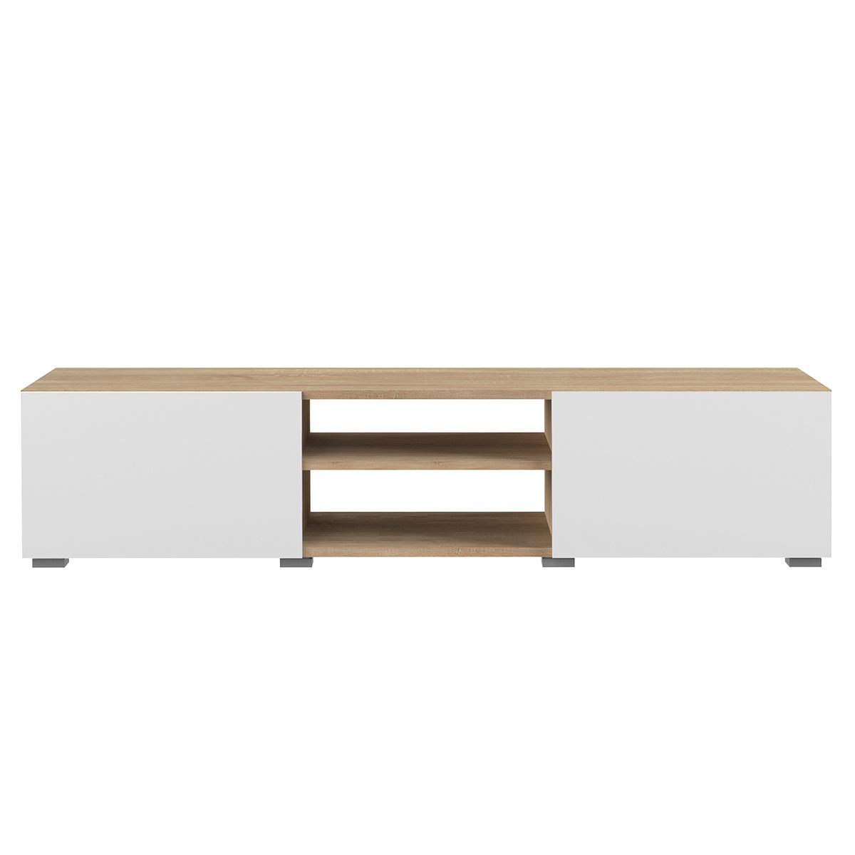 Mobile TV design 2 porte bianco laccato e legno ERRA
