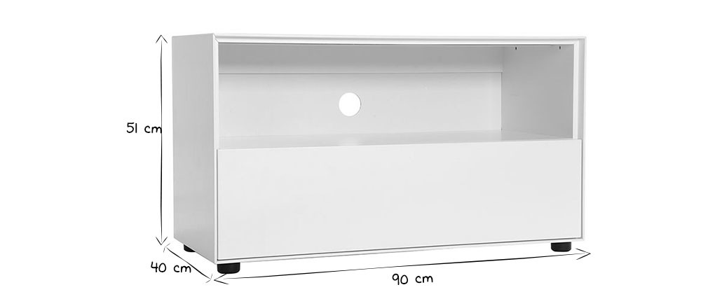 Mobile TV design 90cm bianco opaco 1 cassetto MARK