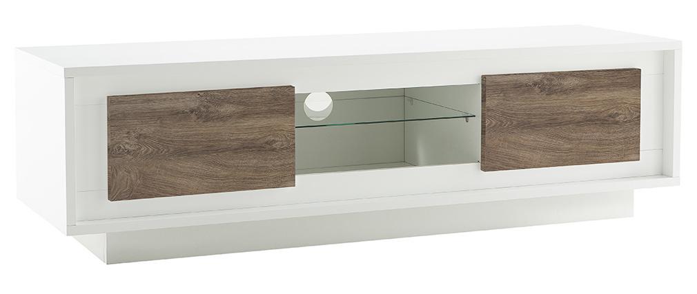 Mobile TV design Bianco con spazi per riporre i propri oggetti elemento decorativo Legno scuro LAND