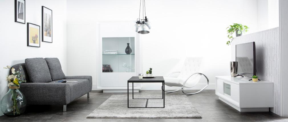 Mobile TV design Bianco con spazi per riporre i propri oggetti stile: legno chiaro LAND