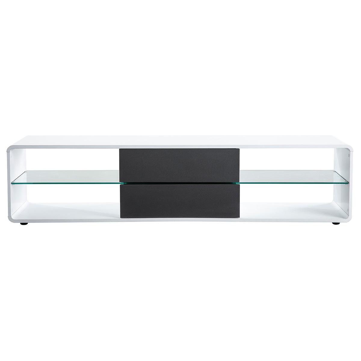 Mobile TV design bianco e cassetti antracite DISCI
