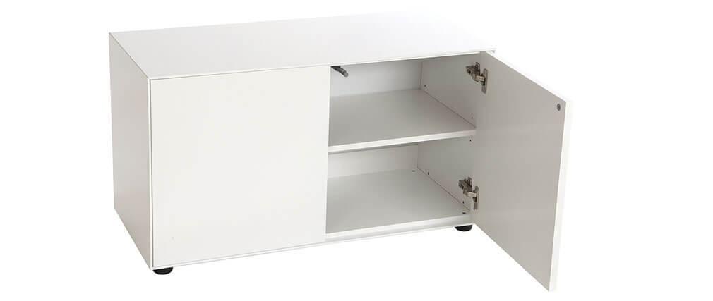 Mobile TV design bianco opaco 90x40cm 2 porte MARK