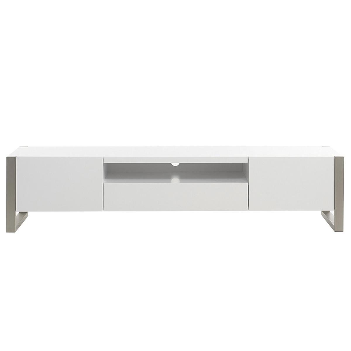 Mobile TV design con cassetti laccato bianco e metallo MAGNA