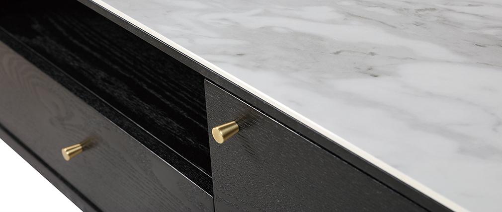 Mobile TV design effetto marmo e piedi dorati ALLURE