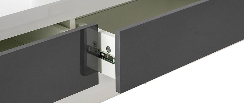 Mobile TV design laccato bianco con cassetti grigio ETANA