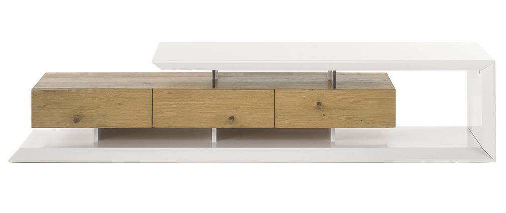 Mobile TV design laccato bianco e legno RITUEL