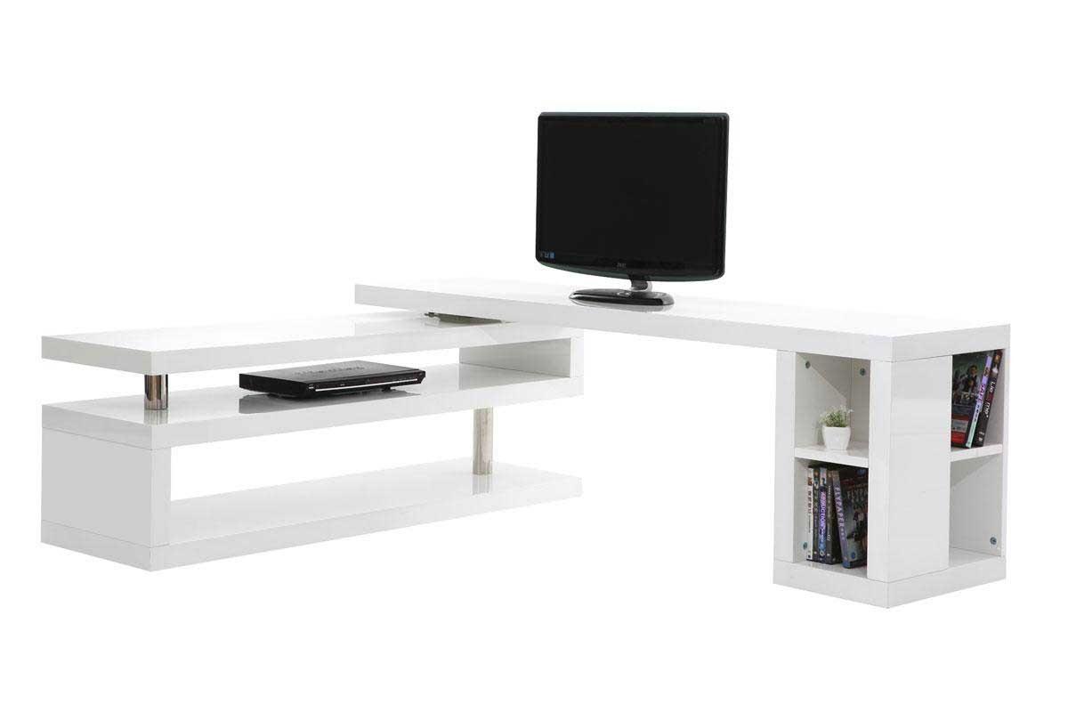 Mobile tv design laccato bianco girevole max miliboo for Mobile porta tv girevole design