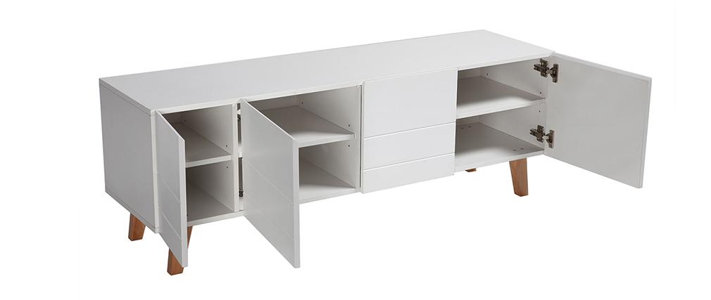 Mobile TV design laccato bianco opaco e legno ADORNA