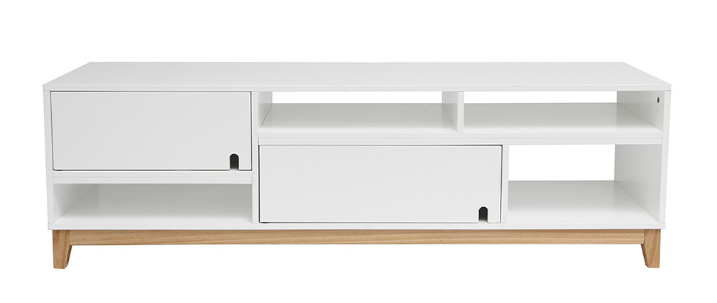 Mobile TV design laccato bianco opaco e legno SKAL