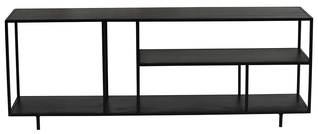 Mobile TV design metallo nero KARL ripiano basso L160 cm