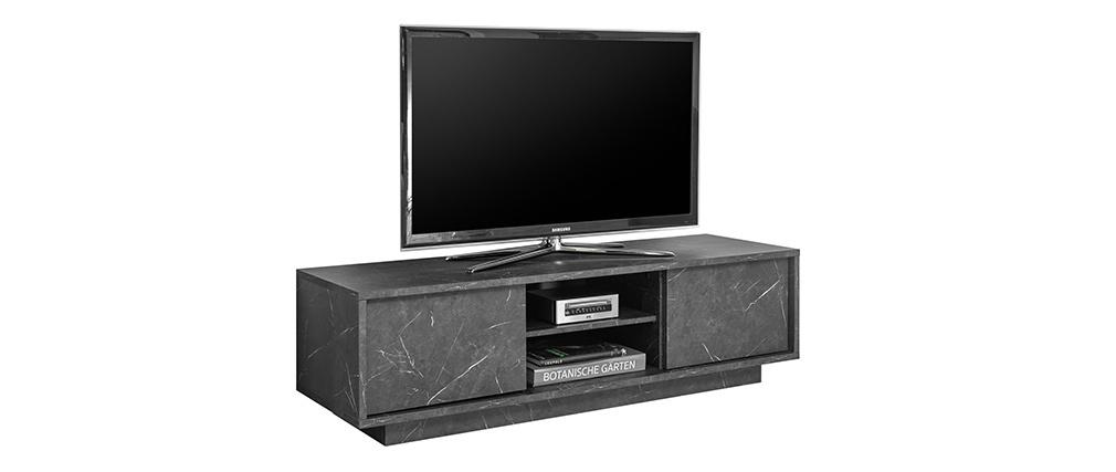 Mobile TV effetto marmo nero L138 cm CARRA