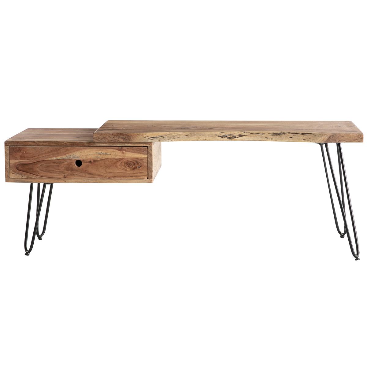mobile TV in legno d'acacia e metallo nero PINA