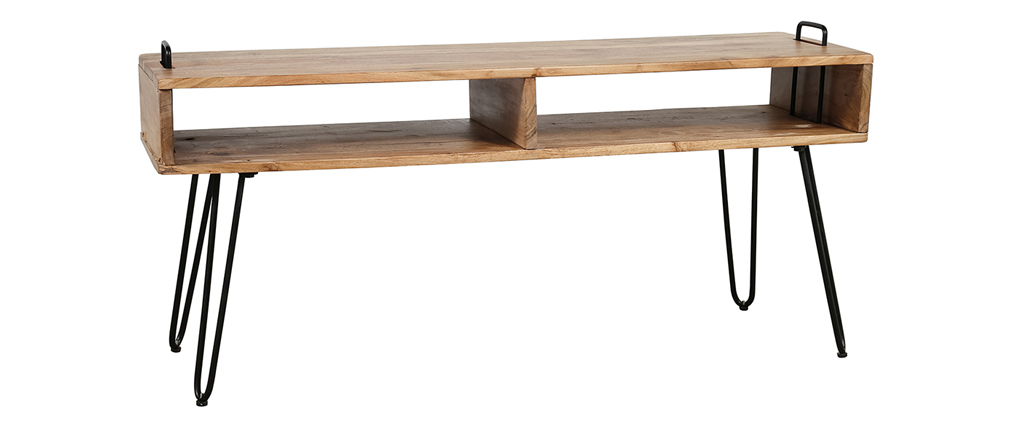 Mobile TV in legno di acacia e metallo nero ALVIN