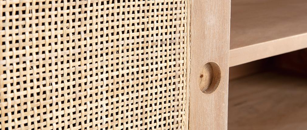 Mobile TV in legno di mango con intreccio in rattan ACANGE