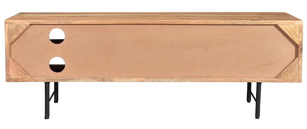 Mobile TV in legno massello di mango con ante a ribalta L120 cm AGRA