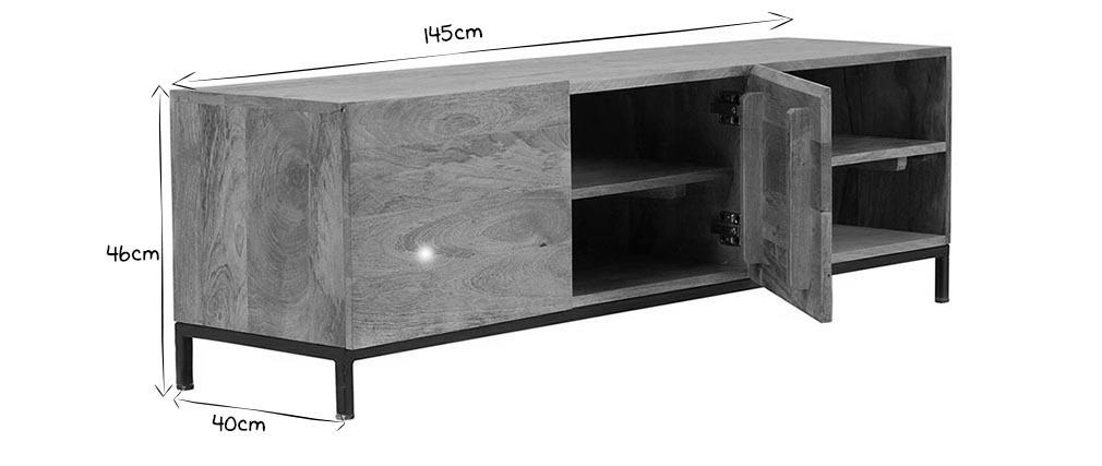 Mobile TV industriale legno di mango e metallo YPSTER