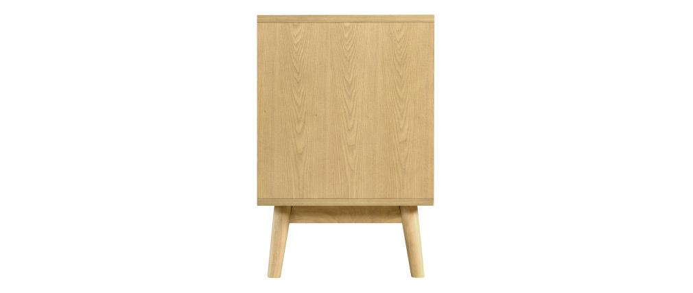 Mobile TV scandinavo a 1 cassetto in legno chiaro e bianco TALIA