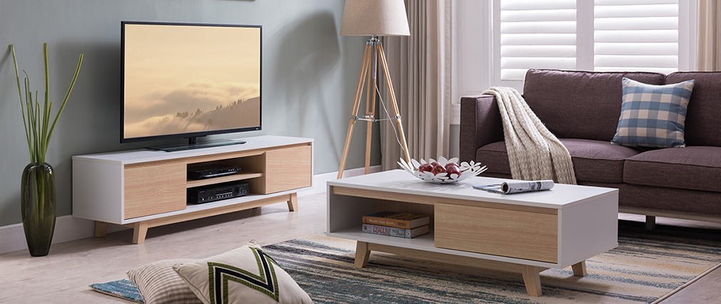 Mobile TV scandinavo bianco brillante e legno LAHTI
