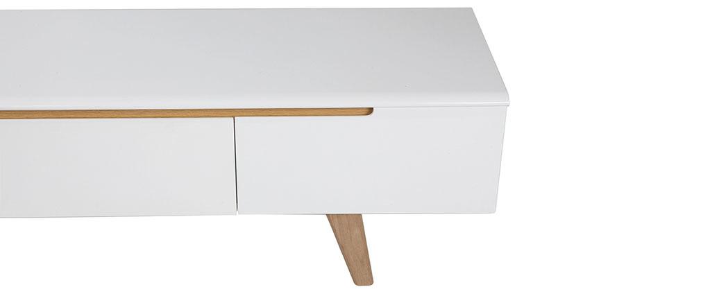 Mobile TV scandinavo bianco lucido e frassino 180cm MELKA