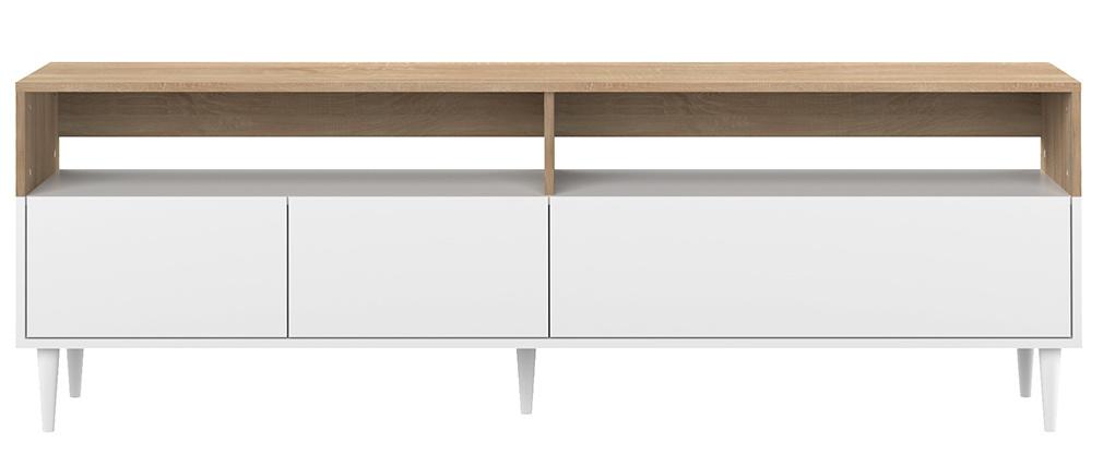 Mobile TV scandinavo legno e bianco STRIPE