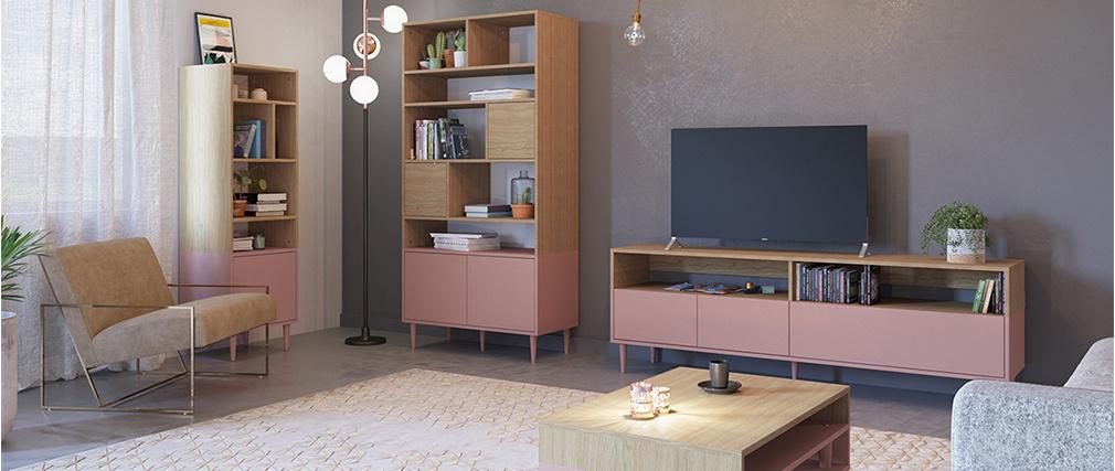 Mobile TV scandinavo legno e rosa STRIPE