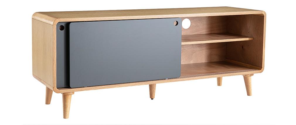 Mobile TV scandinavo quercia chiaro e grigio 140cm COPENHAGUE