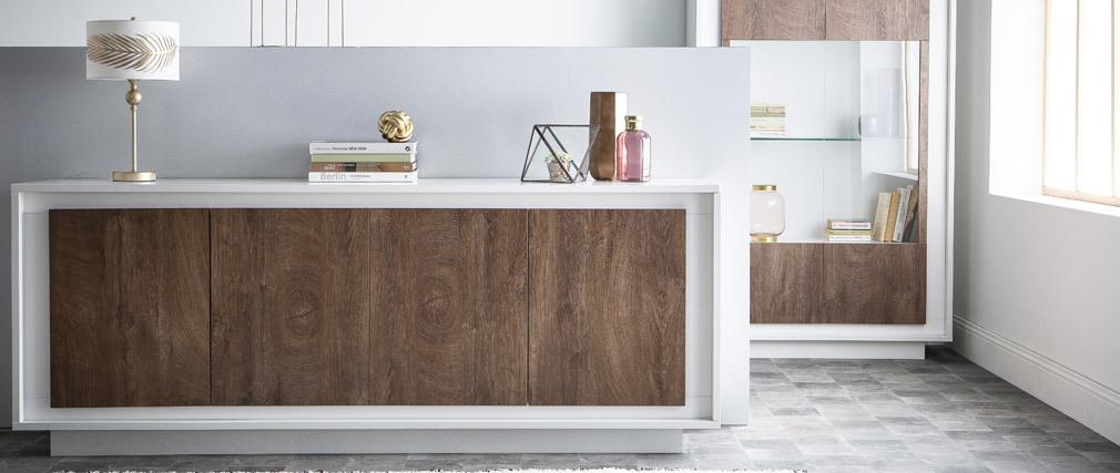 Mobiletto buffet 4 porte design Bianco e cemento LAND
