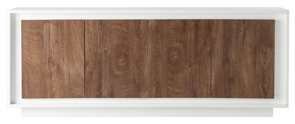 Mobiletto buffet 4 porte design Bianco e legno scuro LAND