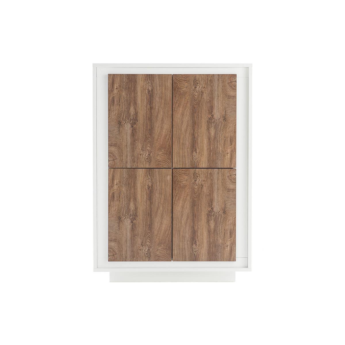Mobiletto buffet alto design 4 ante Bianco e legno scuro LAND