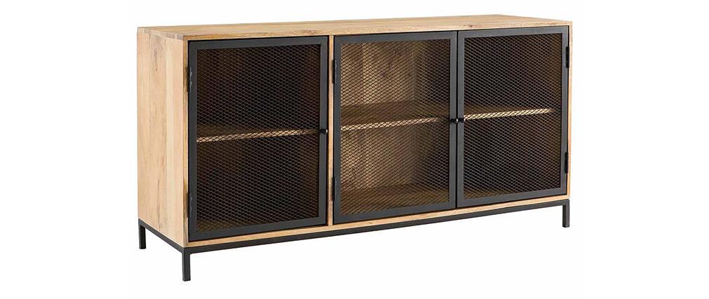 Mobiletto buffet in stile industriale in legno di mango e metallo perforato RACK