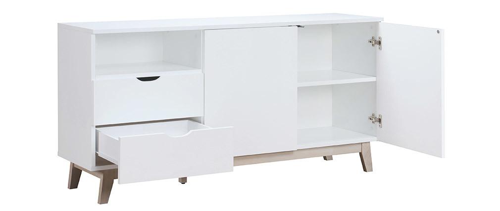 Mobiletto buffet scandinavo bianco e legno chiaro LEENA