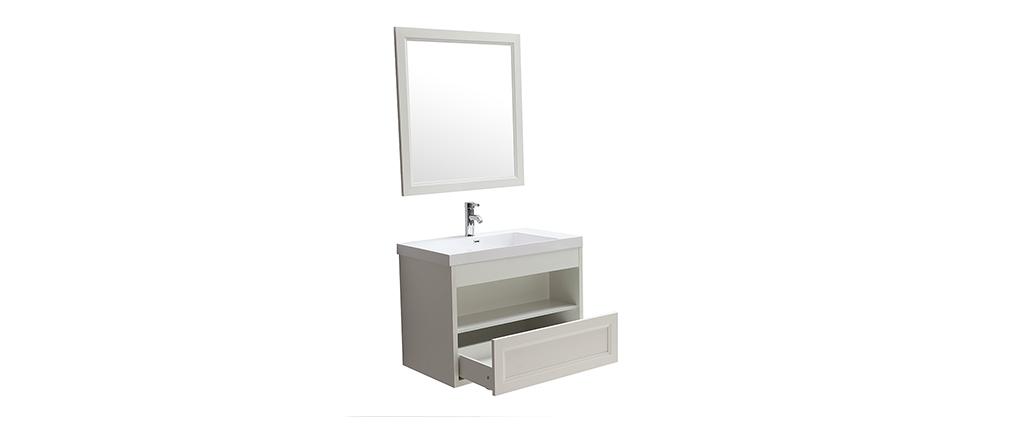 Mobiletto da bagno sospeso con vasca specchio e spazio per riporre i propri oggetti Bianco RIVER