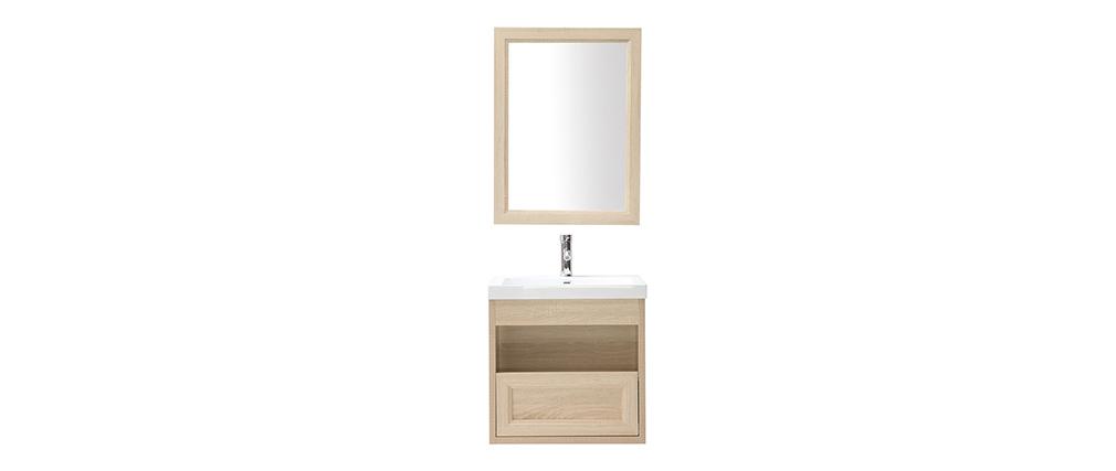Mobiletto da bagno sospeso con vasca specchio e spazio per riporre i propri oggetti in legno RIVER