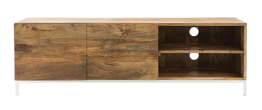 Mobiletto TV design in legno di mango e metallo bianco 145 cm BOHO