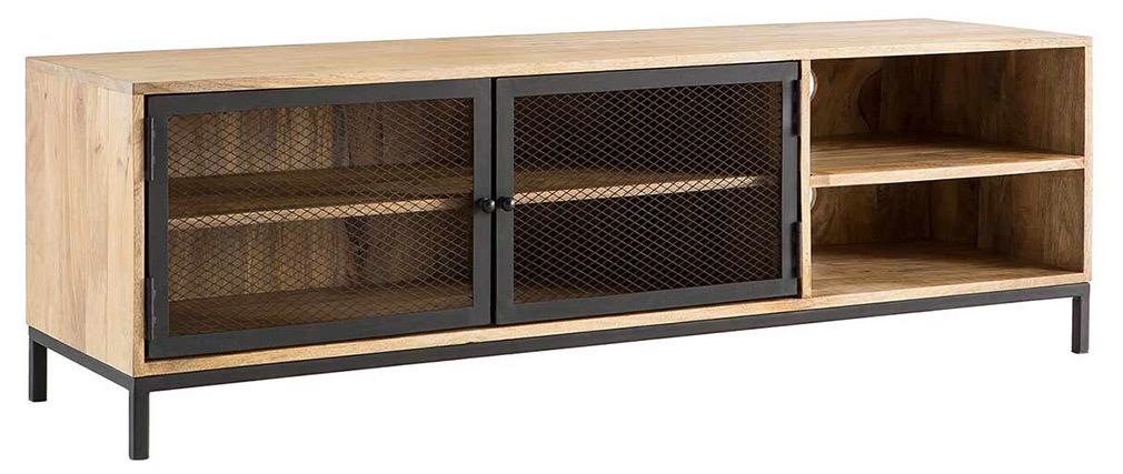 Mobiletto TV industriale in mango e metallo perforato RACK