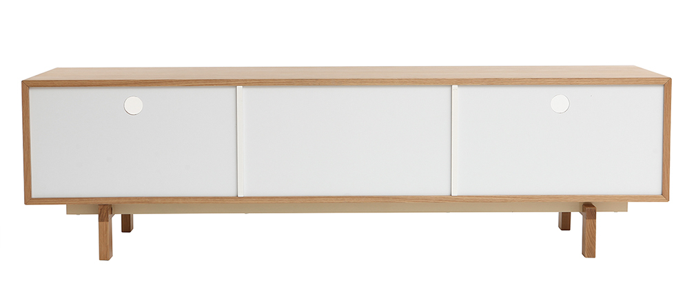 mobiletto TV scandinavo modulabile Bianco e Quercia ACOUSTIC