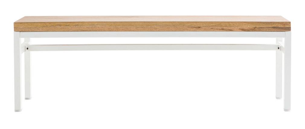 Panca di design in mango e metallo, colore: Bianco, dimensioni: 140 cm, modello: BOHO